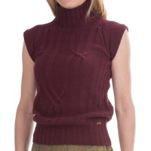Barbour Wold Chunky Knit Sweater - Funnel Neck, Sleeveless (For Women) in Blackberry - Closeouts