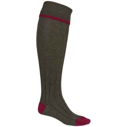 Barbour Wool Blend Knee-High Socks (For Men) in Olive/Cranberry, Contrast - Closeouts