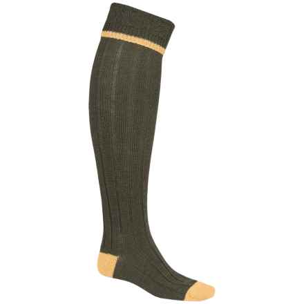 Barbour Wool Blend Knee-High Socks (For Men) in Olive/Gold, Contrast - Closeouts