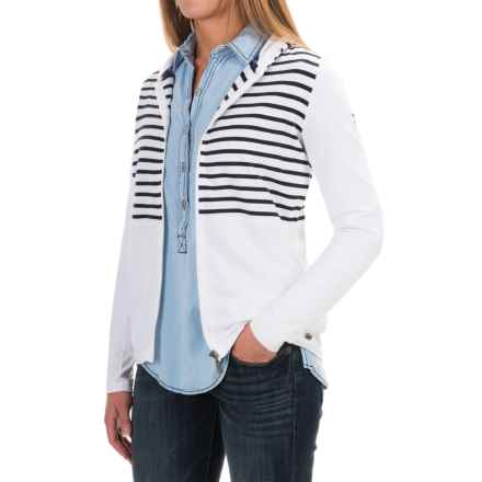 Barbour Yarn-Dyed Cotton Sweatshirt - Zip Front (For Women) in White/Navy, Seaton - Closeouts