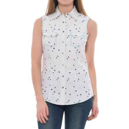 Barn Fly Printed Snap-Front Western Shirt - Sleeveless (For Women) in Salt Geometric - Closeouts