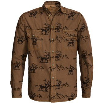 Barn Fly Trading Print Shirt - Long Sleeve (For Men) in Acorn Elk