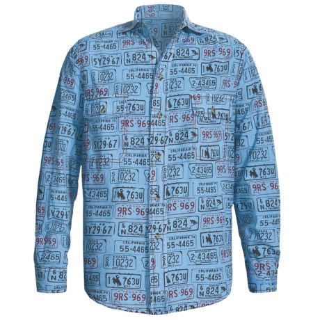 Barn Fly Trading Print Shirt - Long Sleeve (For Men) in Sky License Plate