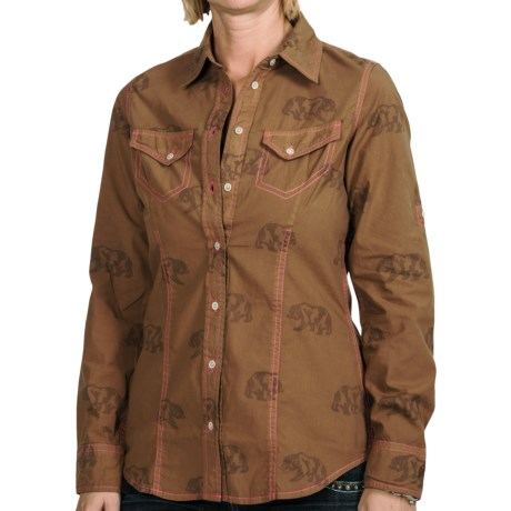 Barn Fly Trading Print Shirt - Long Sleeve (For Women) in Dachshund Wandering Bear