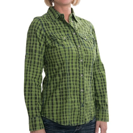 Barn Fly Trading Print Shirt - Long Sleeve (For Women) in Grass Watercolor Plaid