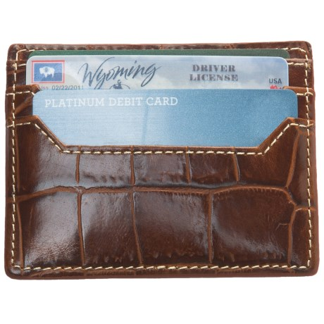 Barrington Covington Slim Card Case - Leather in Italian Moc Croc
