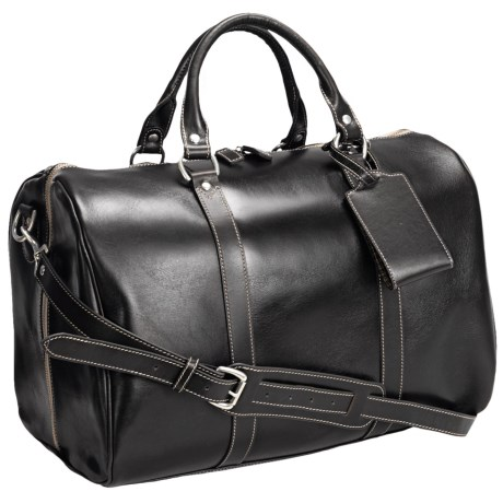 "Barrington Leather Jr. Compton Weekend Bag - 11x17x10"" in Black"