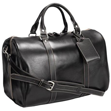"Barrington Leather Jr. Compton Weekend Bag - 11x17x10"" in Black"