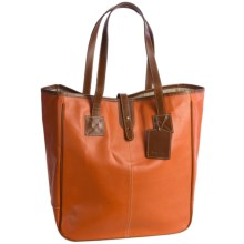 "Barrington Nantucket Tote Bag - Leather, 18x15x7"" in British Tan/Orange - Closeouts"