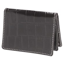 Barrington The Pocket Flip Wallet - Leather in Black Croc Print - Closeouts