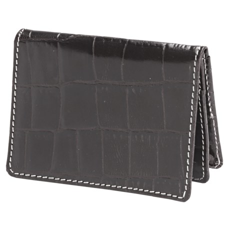 Barrington The Pocket Flip Wallet - Leather in Black Croc Print