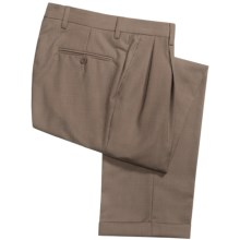 Barry Bricken Check Dress Pants - Pleats, Cuffs (For Men) in Tan - Closeouts