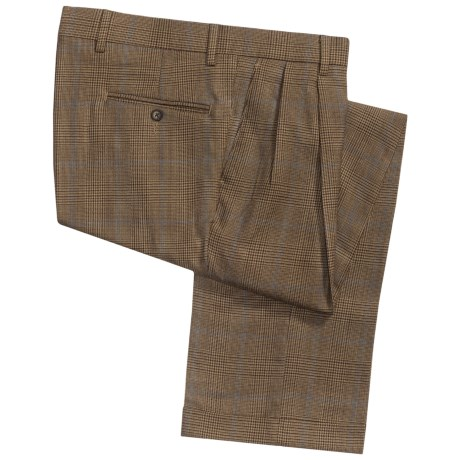 Barry Bricken Dblrvrs pl Pants - Double-Reverse Pleats, Cuffed (For Men) in Camel/Rust/Burgundy Plaid