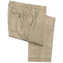 Barry Bricken Double Windowpane Dress Pants - Silk-Wool (For Men) in Tan - Closeouts