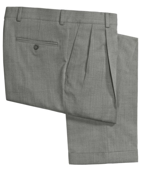Barry Bricken Sharkskin Dress Pants - Stretch Wool, Double-Reverse Pleats (For Men) in Brown