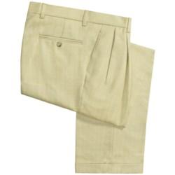 Barry Bricken Silk-Wool Pants - Pleats, Cuffs (For Men) in Tan/Light Green