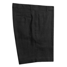 Barry Bricken Solid Linen Shorts - Flat Front (For Men) in Black - Closeouts