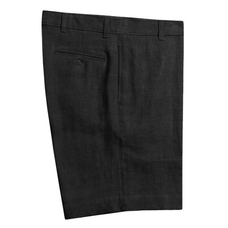 Barry Bricken Solid Linen Shorts - Flat Front (For Men) in Black