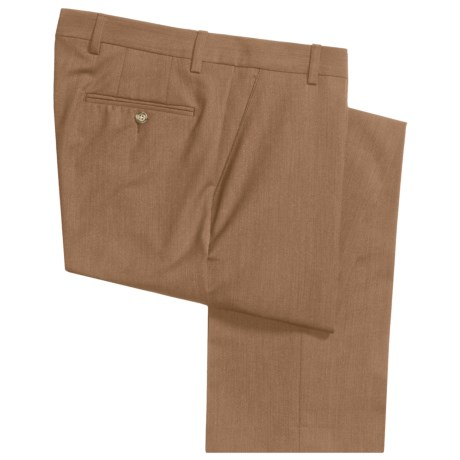 Barry Bricken Stretch Wool Dress Pants - Flat Front (For Men) in Tan