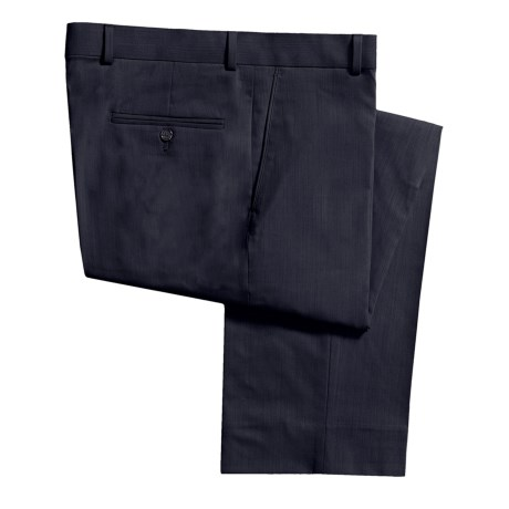 Barry Bricken Striated Gabardine Dress Pants - Wool, Flat Front (For Men) in Navy