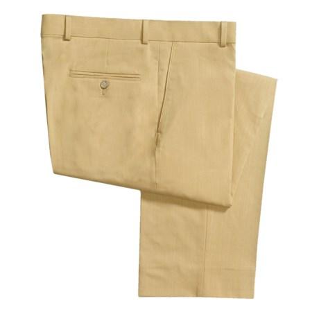 Barry Bricken Striated Gabardine Dress Pants - Wool, Flat Front (For Men) in Tan
