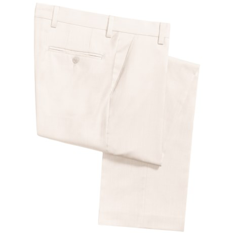 Barry Bricken Superfine Wool Dress Pants - Flat Front (For Men) in Off White