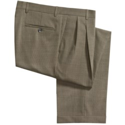 Barry Bricken Tic Weave Stretch Wool Dress Pants - Pleated, Cuffed (For Men) in Brown