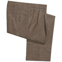 Barry Bricken Windowpane Pants - Double-Reverse Pleats, Cuffed (For Men) in Taupe/Rust/Brown - Closeouts