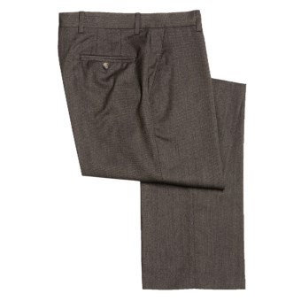 Barry Bricken Wool Dress Pants - Covert Twill, Flat Front (For Men) in Brown/Blue