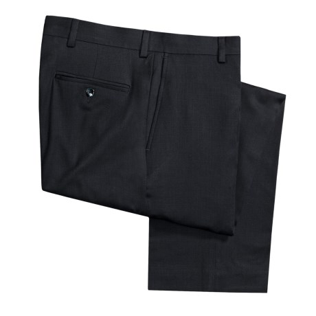 Barry Bricken Wool Dress Pants - Covert Twill, Flat Front (For Men) in Navy