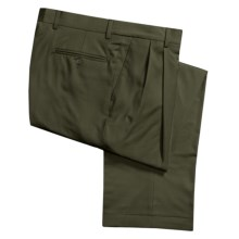 Barry Bricken Wool Gabardine Dress Pants - Pleated (For Men) in Olive - Closeouts