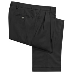 Barry Bricken Wool Gabardine Pants - Pleats, Cuffs (For Men) in Black