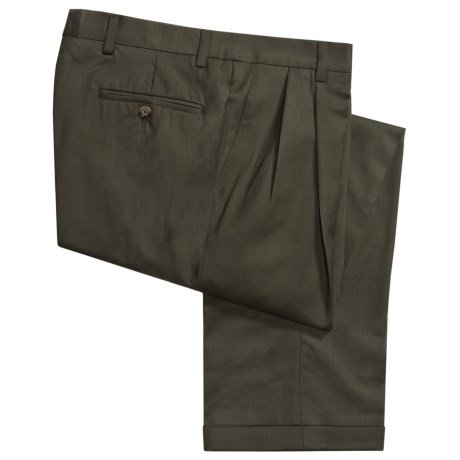 Barry Bricken Wool Gabardine Pants - Pleats, Cuffs (For Men) in Taupe