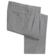 Barry Bricken Wool Gabardine Pants - Pleats, Cuffs (For Men) in Light Grey - Closeouts