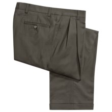 Barry Bricken Wool Gabardine Pants - Pleats, Cuffs (For Men) in Medium Olive - Closeouts