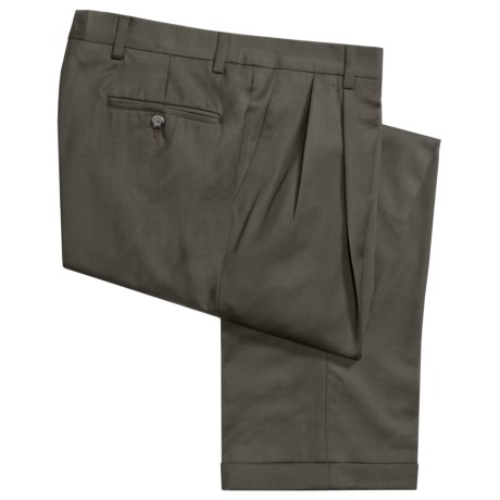 Barry Bricken Wool Gabardine Pants - Pleats, Cuffs (For Men) in Dark Taupe