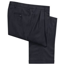 Barry Bricken Wool Gabardine Pants - Pleats, Cuffs (For Men) in Navy - Closeouts