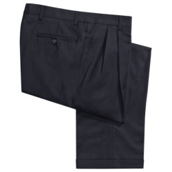 Barry Bricken Wool Gabardine Pants - Pleats, Cuffs (For Men) in Navy