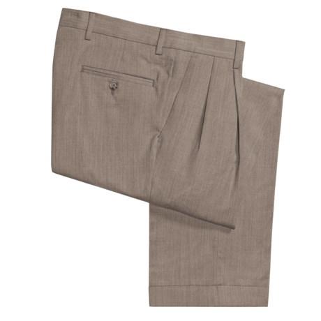 Barry Bricken Wool Gabardine Pants - Pleats, Cuffs (For Men) in Tan Heather