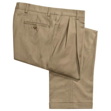 Barry Bricken Wool Gabardine Pants - Pleats, Cuffs (For Men) in Taupe