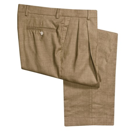 Barry Bricken Wool Heather Pants - Double-Reverse Pleats (For Men) in Tobacco Heather