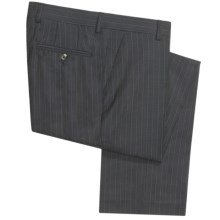 Barry Bricken Wool Pinstripe Pants - Flat Front (For Men) in Charcoal/Blue - Closeouts