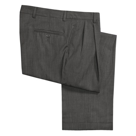 Barry Bricken Wool Tic Weave Pants - Double Reverse Pleats (For Men) in Taupe