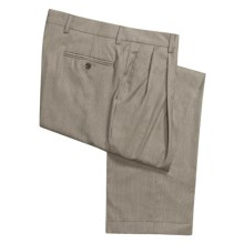 Barry Bricken Wool Tic Weave Pants - Double Reverse Pleats (For Men) in Taupe - Closeouts