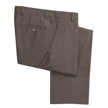 Barry Bricken Wool Tic Weave Pants - Flat Front (For Men) in Tan/Brown - Closeouts