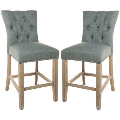 Basset Preston Upholstered Counter Stools - Set of 2 in Blue