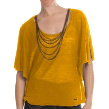 Batwing Sweater - Attached Chain Detail, Short Sleeve (For Women) in Mustard - 2nds