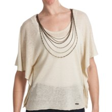 Batwing Sweater - Attached Chain Detail, Short Sleeve (For Women) in Stone - 2nds