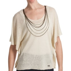Batwing Sweater - Attached Chain Detail, Short Sleeve (For Women) in Stone
