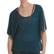 Batwing Sweater - Attached Chain Detail, Short Sleeve (For Women) in Teal - 2nds